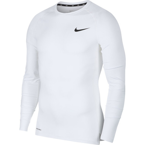NIKE MEN'S LONG-SLEEVE PRO COMPRESSION SHIRT - WHITE