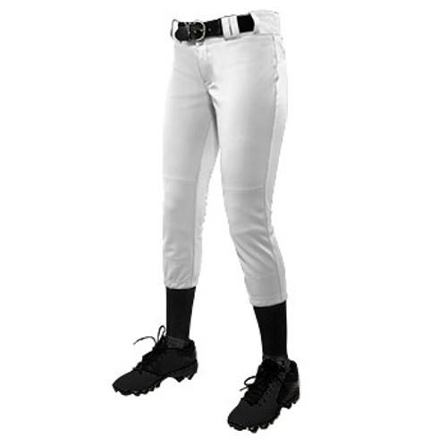 CHAMPRO GIRL'S LOW-RISE SOFTBALL PANT - WHITE