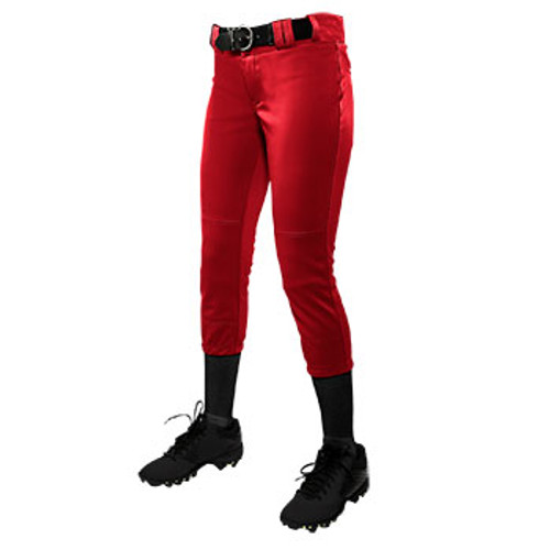 CHAMPRO WOMEN'S LOW RISE SOFTBALL PANT - RED
