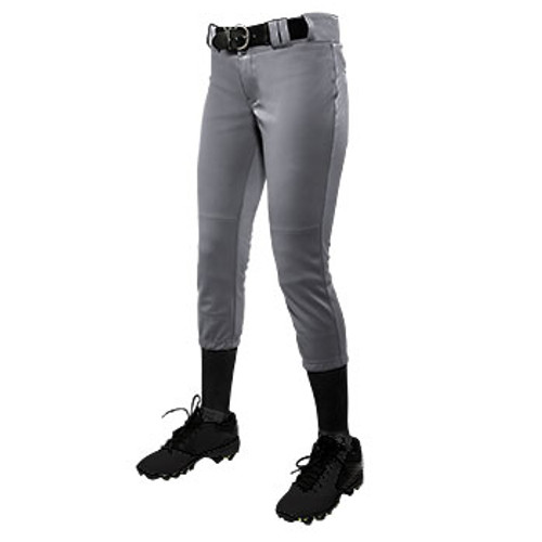 CHAMPRO GIRL'S LOW-RISE SOFTBALL PANT - GREY