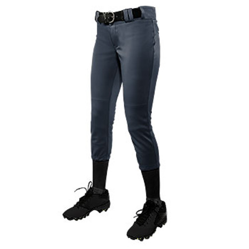 CHAMPRO GIRL'S LOW-RISE SOFTBALL PANT - GRAPHITE