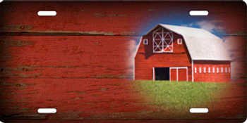 Barn on Red Wood Offset Auto Plate sku T9179A