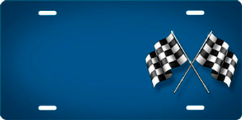 Checkered Flags on Bluje Offset Auto Plate sku T2732B