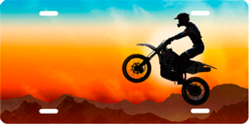 Dirtbike on Full Color Offset Auto Plate sku T9377D