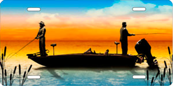Boat Fishing on Full Color Auto Plate sku T9413D