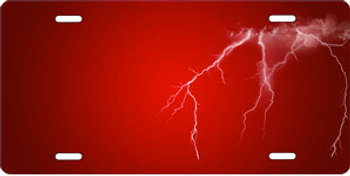 Lightning on Red Brushed Metal Auto Plate sku TB2807A