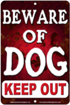 Beware of Dog Keep Out Sign sku MS3325A