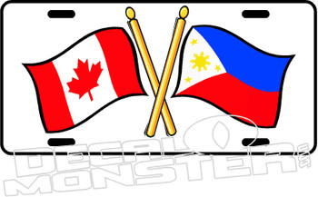 Philippines Canada Flag Cross Decal Plate DM