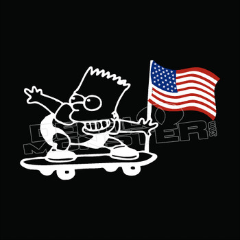 Bart Simpson American Flag Decal Sticker