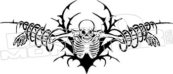Skeleton Tribal Silhouette Decal Sticker