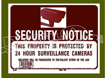 Security Camera 24hours Notice Decal Sticker