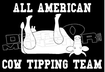 All American Cow Tipping Team Guy Stuff Decal Sticker