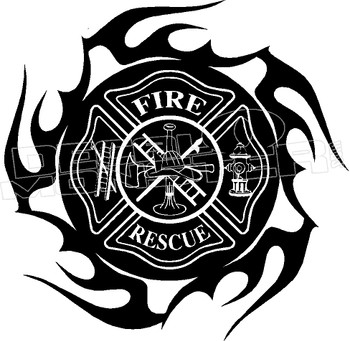 Firefighters Fire Rescue 1 Flame Decal Sticker