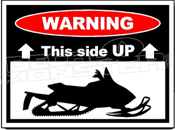 Warning Snowmobile 2 This Side Up Decal Sticker