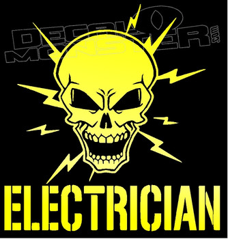 Certified Electrician Skull Decal Sticker