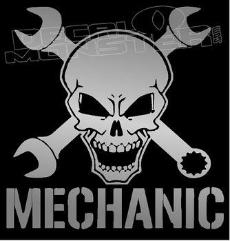 Certified Mechanic Skull Decal Sticker