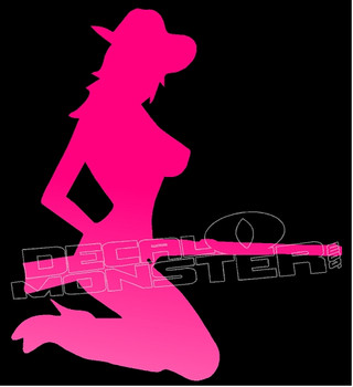 Hot Country Girl and Gun Decal Sticker