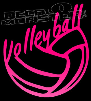 Volleyball Script Silhouette Decal Sticker