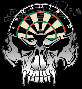 Wicked Skull and Dartboard Decal Sticker