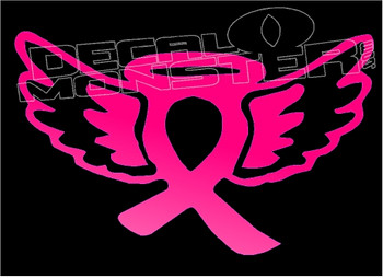 Cancer Angel Halo Wings Silhouette Decal Sticker