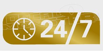 24 7 Around the Clock Never Closed Decal Sticker
