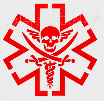 Skull Medical Symbol Decal Sticker
