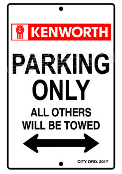 Kenworth Text Parking All Others Towed Decal Sticker