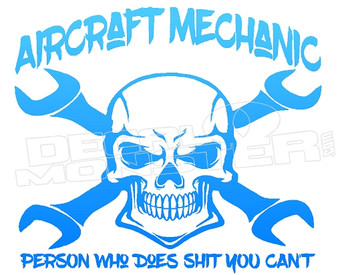 Aircraft Mechanic Skull Wrench Crossbones 1 Decal Sticker DM