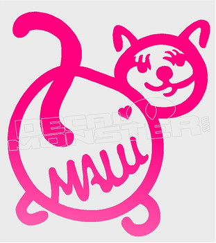 Maui Pink Kitty Cat Silhouette Decal Sticker