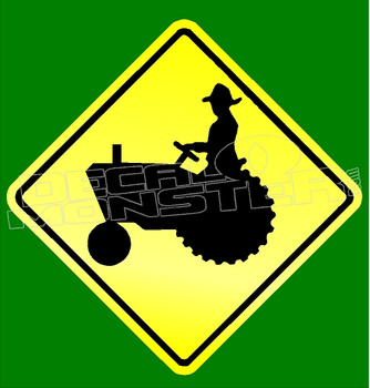 Caution Farmer Tractor Crossing Decal Sticker DM