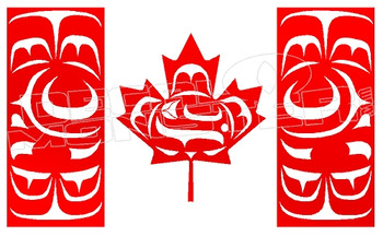 Totem Pole Canada Flag Carving 1 Decal Sticker