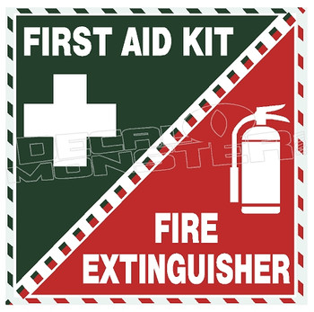 First Aid Kit Fire Extinguisher Label Decal Sticker