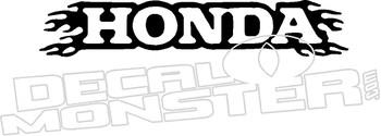 Honda Flames 2 Motorcycle Decal Sticker