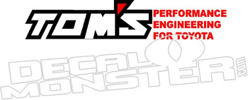 Tom's performance Engineering For Toyota 2 Decal Sticker