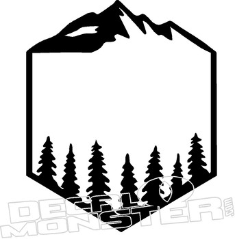 Mountain Trees Frame Nature Decal Sticker