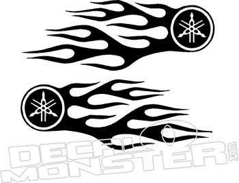 Yamaha Motorcycle Flames Decal Sticker