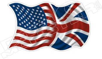 American UK British Flag Waving Decal Sticker DM