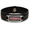 "Ohio State Buckeyes Black ""Edge"" Leather Nameplate with Tile Background College Bracelet"
