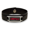 """Louisville Cardinals Black """"Edge"""" Leather Nameplate with Tile Background College Bracelet"""