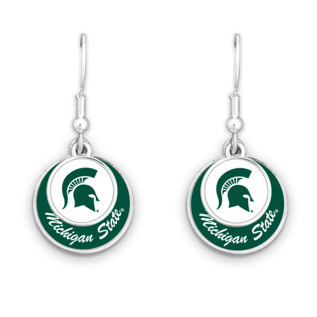 Michigan State Spartans Stacked Disk Earrings