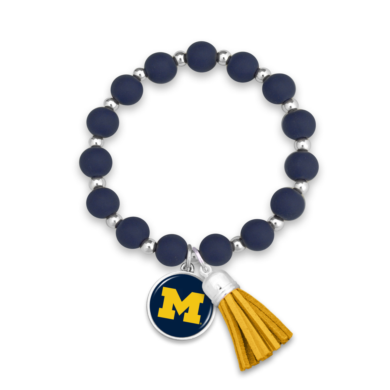Michigan Wolverines Team Color Silicone Beaded Stretch Tassel Bracelet