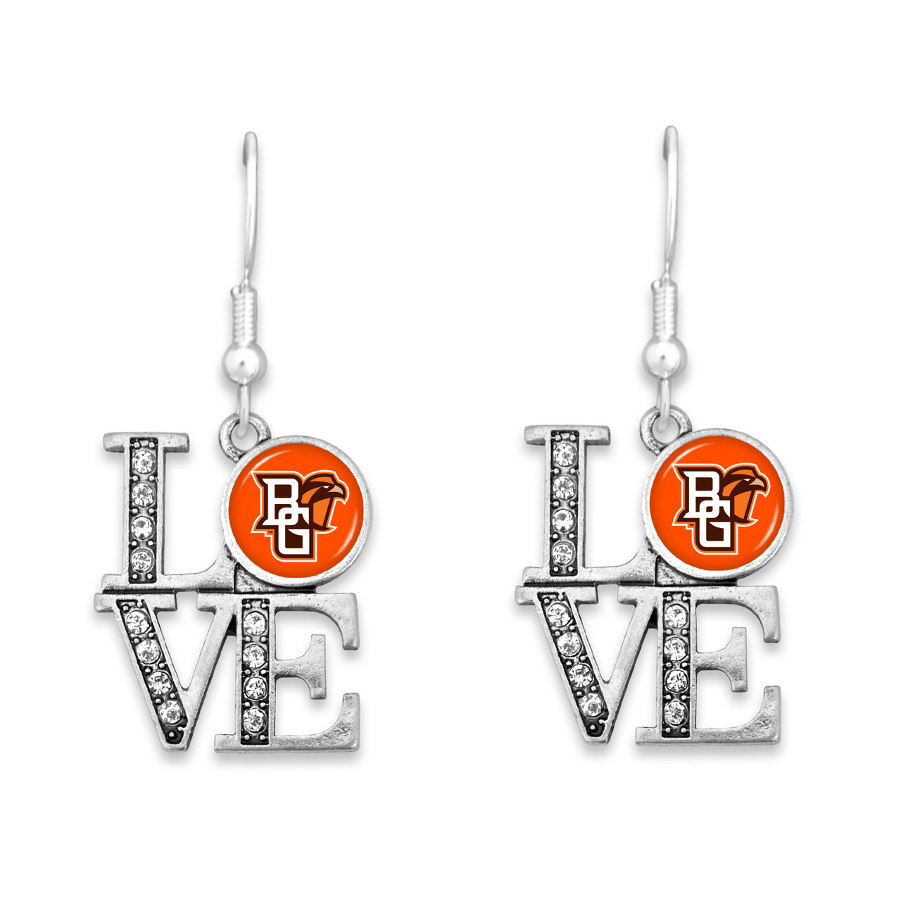 Bowling Green State Falcons LOVE Earrings