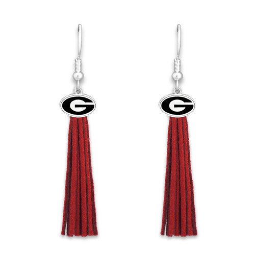 Georgia Bulldogs Tassel Logo Earrings