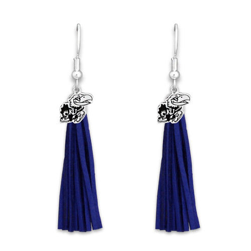 Kansas Jayhawks Tassel Logo Earrings