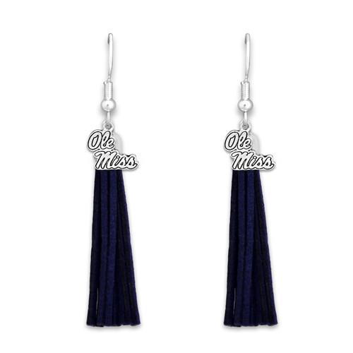 Ole Miss Rebels Tassel Logo Earrings