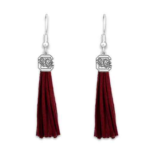 South Carolina Gamecocks Tassel Logo Earrings