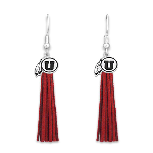 Utah Utes Tassel Logo Earrings