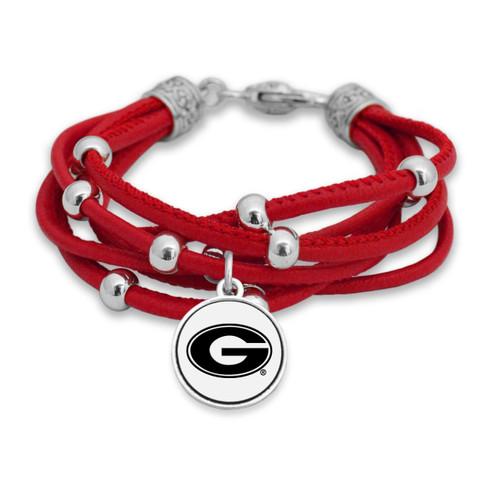 Georgia Bulldogs Lindy Leather Bracelet