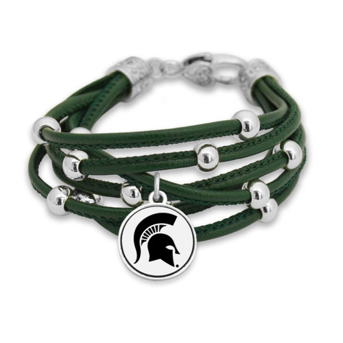 Michigan State Spartans Lindy Leather Bracelet