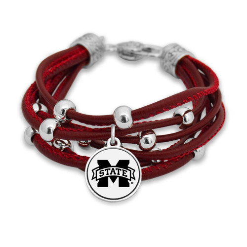 Mississippi State Bulldogs Lindy Leather Bracelet
